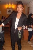 black H&M blazer - black leather Givenchy pants - black seetrough Monki blouse -