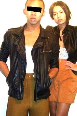 light brown American Apparel pants - black H&M jacket