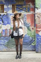 black skort Zara skirt - black La Redoute boots - bronze La Redoute hat