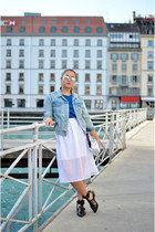 sandals Zara shoes - denim jacket Topshop jacket - Xray sunglasses - Zara skirt