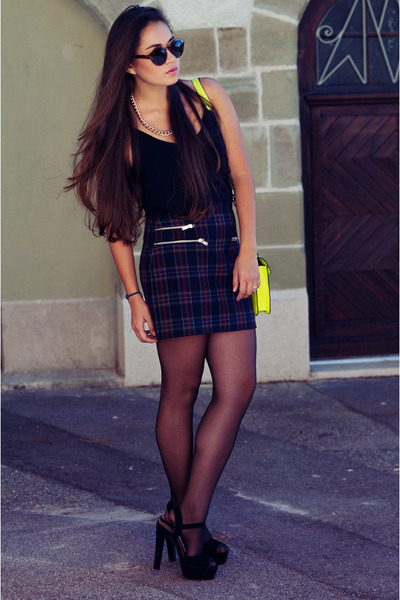 checked print Zara skirt - neon yellow Mango bag - Steve Madden heels
