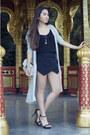 Black-sandals-zara-shoes-silver-maxi-h-m-jacket-black-skort-zara-skirt