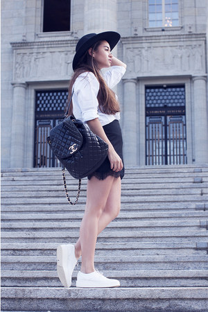 black H&M hat - white Zara shoes - white Mango shirt - black Chanel bag