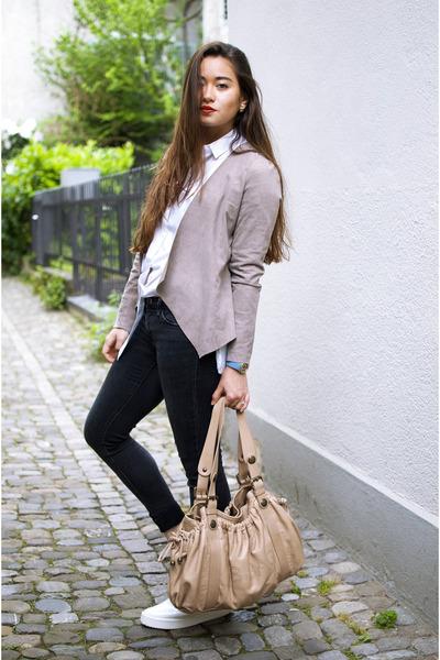 leather jacket sud express jacket - platforms Zara shoes - Mango shirt