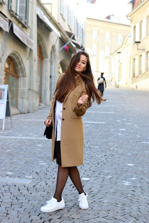 bronze joseph coat - white Mango shirt - La Redoute bag - white Adidas sneakers