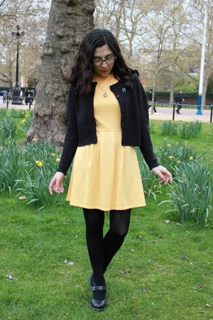 yellow asos dress - black H&M cardigan - black Dr Martens heels