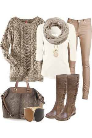 brown bracelet - light brown tall boots - silver scarf - dark brown bag