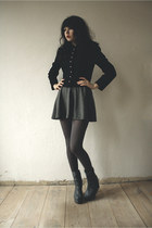 gray boots - black wool jacket - gray calvin klein tights - gray skirt