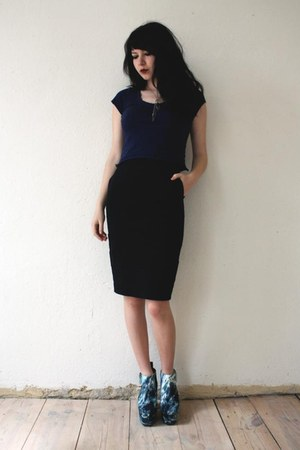 teal shoes - black Weekday Collection skirt