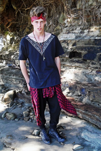 black pants - ruby red from a friend shirt - red red bandanna scarf