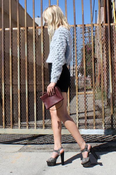 black Topshop sandals - light blue Ganni sweater - maroon Celine bag