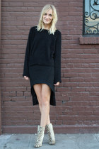 black Maria Vogel skirt - tan Zara boots - black H&M Trend sweater