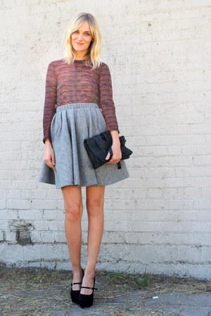 heather gray acne skirt - black Yvonne Kon bag - tawny PROENZA SCHOULER top