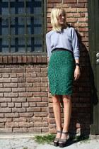 teal COS skirt - heather gray American Apparel sweatshirt - black Topshop heels