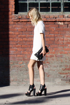 black surface to air heels - white H&amp;M Trend dress - black acne jacket