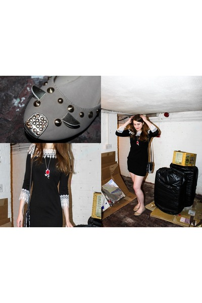 black ADC Panacher dress - white bag - camel flats - red rose necklace necklace