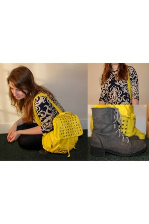 yellow bag - heather gray Moow boots - navy Indulgence London top