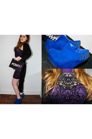 purple Boohoo dress - blue belle women wedges - black cardigan