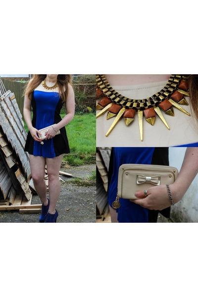 blue Top Or boots - blue BlinQ dress - peach belle women purse - tawny necklace