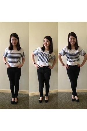 white cotton Forever 21 shirt - black cotton Topshop pants
