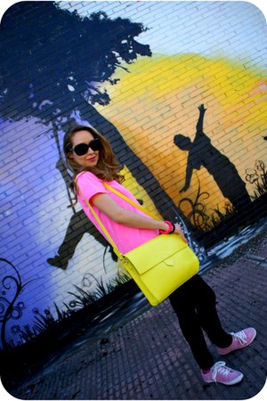 black Primark jeans - lime green Zara bag - black pull&bear sunglasses