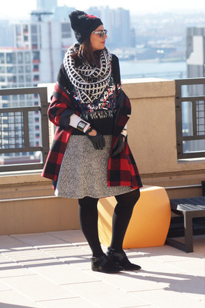 black sequined blouse H&M blouse - black H&M boots - ruby red asos coat