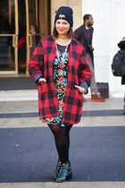 red asos blazer - dark green buckle booties Forever 21 boots