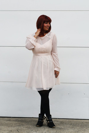black Report boots - light pink asos dress