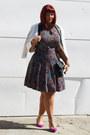 Amethyst-forever-21-dress-white-forever-21-blazer-hot-pink-asos-heels