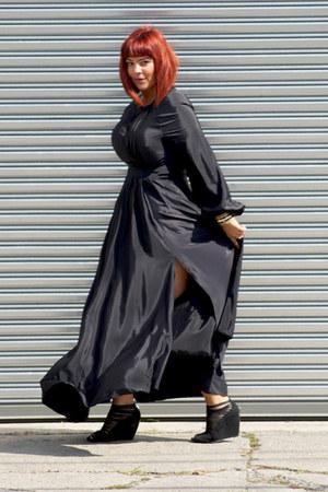 black asos dress - black bandage wedges Rampage wedges