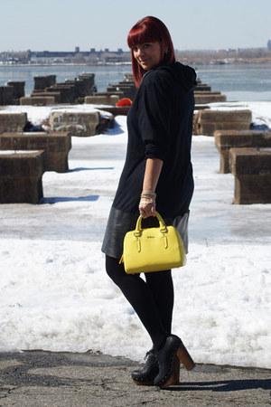 yellow Furla bag - black Jeffrey Campbell boots - black Line & Label dress