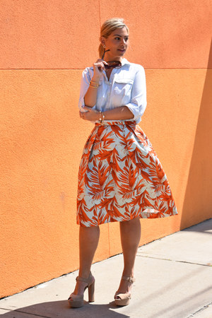 orange printed skirt H&M skirt - light blue denim shirt banana republic shirt
