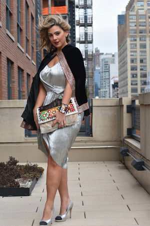 brown JMD bag - silver metallic dress asos dress - black velvet cape JMD cape