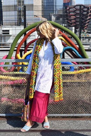 white ahilaya top - yellow House of JMD scarf - purple Novica bag
