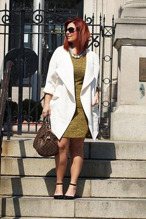 sky blue H&M necklace - mustard tweed dress H&M dress