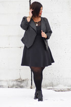 black boots - black dress - black jacket