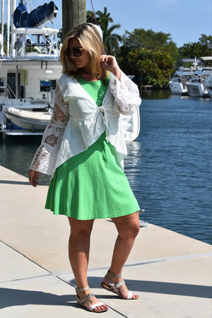 white Karma for a Cure blouse - green NY&CO dress