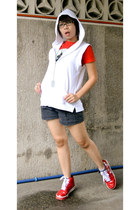black BLUE shorts - red American Boulevard shirt - white NY Laundry hoodie
