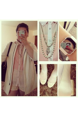 ivory jacket - ivory lace knit Forever 21 shorts - ivory Lauren Conrad necklace