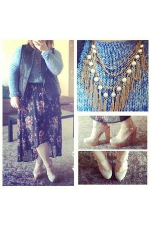 blue Gap jumper - eggshell wooden heel Forever 21 heels
