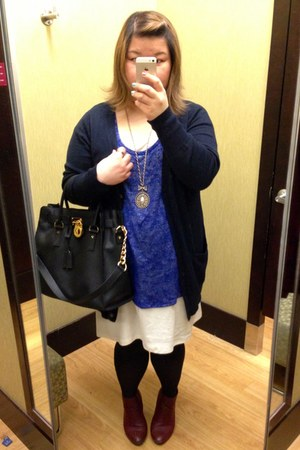 black Michael Kors bag - brick red Forever 21 boots - blue Gap cardigan