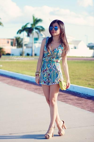 aquamarine bag - sky blue shorts