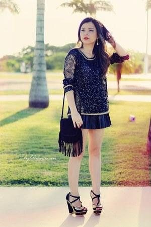 black shirt - black bag - black cardigan - black sandals