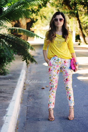 yellow blouse - hot pink bag - pink pants - white pants