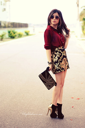 maroon blouse - black boots - black bag - black skirt - gold skirt
