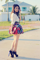 hot pink skirt - brick red bag - black sandals - eggshell blouse