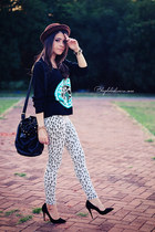 black sweater - brown hat - silver leggings - black bag - black heels