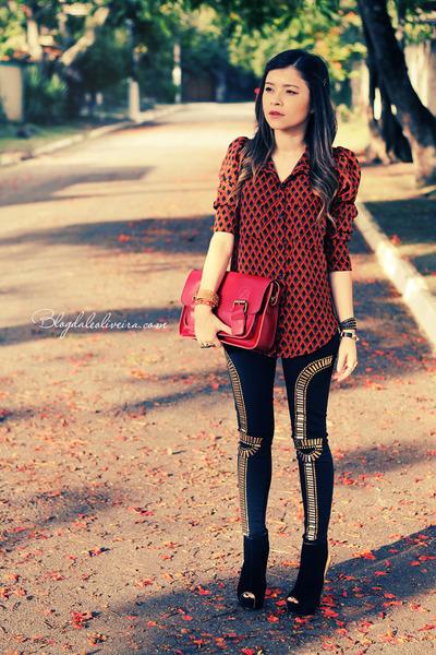 black boots - black leggings - gold leggings - ruby red bag - tawny blouse