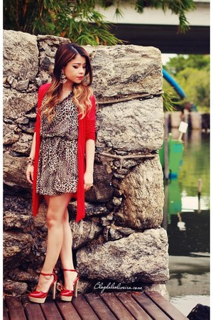 red shoes - brown dress - red cardigan