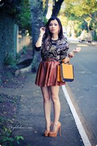 brown skirt - carrot orange bag - black blouse
